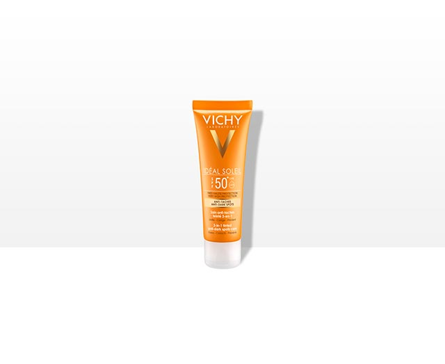 Crème anti-taches, soin solaire SPF 50+